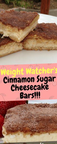 Weight Watcher's Cinnamon Sugar Cheesecake Bars – One Of Recipe Ww Desserts, Healthy Desserts, Delicious Desserts, Dessert Recipes, Yummy Food, Healthy Recipes, Dessert Bars, Yummy Yummy, Healthy Meals