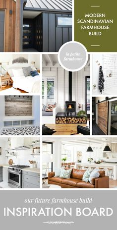 Modern Scandinavian Farmhouse Build Inspiration Board | la petite farmhouse | excited for the dark exterior, patterned tile, barn door slider, mid-century furniture and cozy wood burning stove!