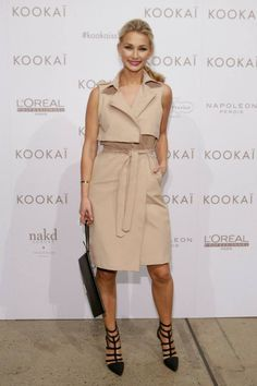 Anna Heinrich wearing the Minoko Trench and Georgia Heels, available in Boutqiues and Online! Xx