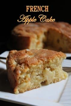 French Apple Cake Recipe - Yummy Tummy Yesterday i saw beautiful crispy apples lying in the fridge. I have no problem finishing those, because they are fresh and tasted amazin. Apple Dessert Recipes, Baking Recipes, Delicious Desserts, Cooking Apple Recipes, Easy Apple Desserts, Apple Recipes Easy, Apple Deserts, Recipes For Apples, French Food Recipes