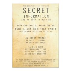 Personalized Secret Spy Party Invitation
