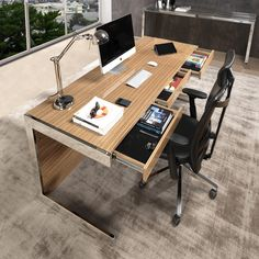 Zed Office Desk is an elegant and modern furniture piece made in wood and stainless steel | For more details: www.laskasas.com