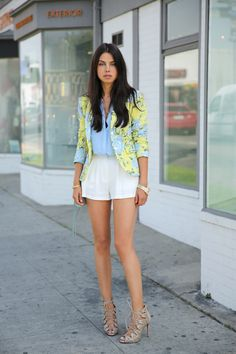 Viva Luxury. Floral blazer, button up, shorts and lace up nude heels