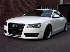 unique audi | white audi a5 with with black rims and lowering springs