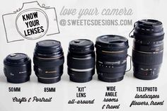 dslr lenses- get to know all about telephoto, prime lenses, wide angle and kit lenses! Which to use for faces, which to use for places, and everything in between. (great info for beginner photographers) - Know your DSLR Lenses Dslr Photography Tips, Photography Cheat Sheets, Photography Lessons, Photoshop Photography, Photography Equipment, Photography Tutorials, Photography Business, Love Photography, Digital Photography