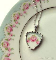 Broken china jewelry shield shaped pendant necklace antique pink roses French porcelain