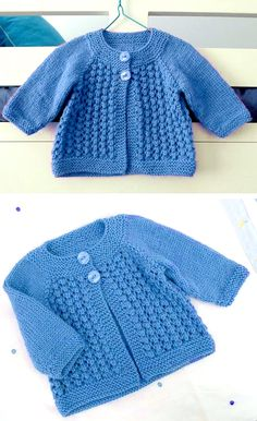 Free Baby Sweater Knitting Patterns, Knitted Baby Cardigan, Knit Baby Sweaters, Free Knitting, Baby Knits, Baby Girl Patterns, Sewing, Projects, Crafts