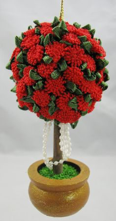 Red Topiary Victorian Inspired Christmas Ornament by NoelBelles, $8.50
