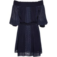 Alice + Olivia Pammy Embroidered Off The Shoulder Dress ($495) ❤ liked on Polyvore featuring dresses, embroidery dress, off the shoulder dress, long sleeve embroidered dress, blue off shoulder dress and longsleeve dress