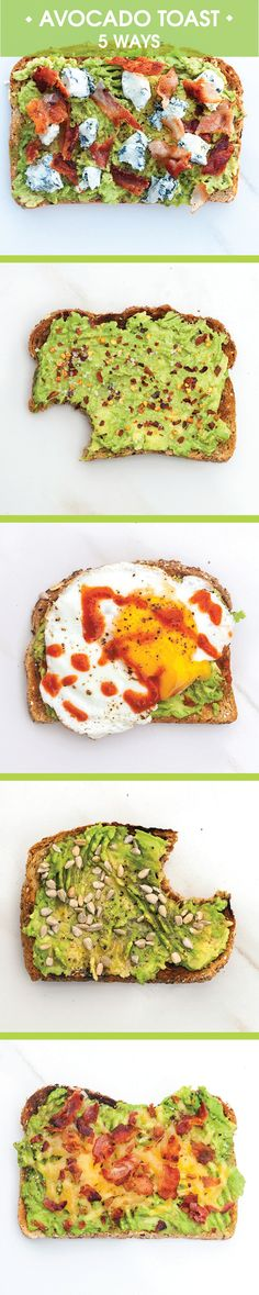 Avocado Toast: 5 Ways Toast with avocado is tasty but throwing on a few other ingredients can make it a bit more fun and exciting. Pin and save Avocado Toast: 5 Ways for those mornings you want to mix things up! Avocado Dessert, Avocado Breakfast, Avocado Toast, Healthy Snacks, Healthy Eating, Healthy Recipes, Comida Diy, Avocado Recipes, Yummy Food
