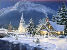 Thomas Kinkade art oil painting painting Christmas village