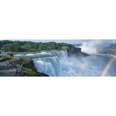 Tourists at a waterfall Niagara Falls Niagara River Niagara County New York State USA Canvas Art - Panoramic Images (18 x 6)