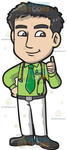 A Male Doctor Giving A Thumbs Up :  A man with black hair wearing an apple green dress shirt green necktie gray belt white pants and black shoes smirks while raising his left hand to gesture a thumbs up sign right hand placed on his hip and a gray stethoscope hangs around his neck  The post A Male Doctor Giving A Thumbs Up appeared first on VectorToons.com.  #clipart #vector #cartoon