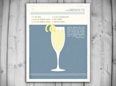 FRENCH 75 COCKTAIL POSTER  Retro Food Drink by theNATIONALanthem