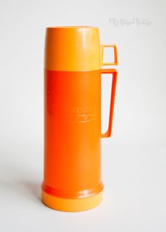 Retro Vintage 1970s ORANGE Thermos Flask 16 oz 0.5 Litres Model 25 by UpStagedVintage on Etsy