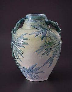 Edmond Lachenal Vase aux bambous. Vers 1911. Grès émaillé.