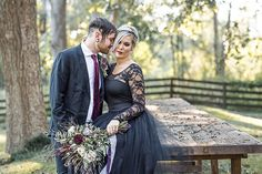 """Bride and groom portrait // bride and groom poses // bride and groom photography // black wedding dress // floral design // bridal updo // goth wedding // Halloween wedding // black and purple styled shoot // Huntsville Alabama wedding photography // Alabama wedding photographer   106 Likes, 6 Comments - Kylie Anne Martinez (@lilacandlemonphotography) on Instagram: """"Friday, October 13th. Do you suffer from friggatriskaidekaphobia?? If you do maybe this couple,…"""""""