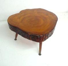 Vintage mid century   sliced trunk  side table. $175.00, via Etsy.