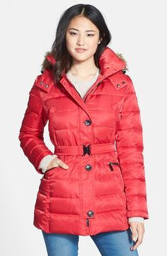 Nordstrom: Vince Camuto quilted jacket with faux fur hood and removable hood. Colors: scarlet, winter white, navy, black. On Sale for: $179.90, Regular Price: $270
