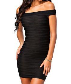made2envy Wave Off-shoulder Bodycon Dress