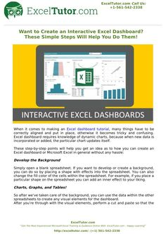 When it comes to making an Excel dashboard tutorial, many things have to be correctly aligned and put in place, otherwise it becomes tricky and confusing. Excel dashboard requires knowledge of dynamic charts, because when new data is incorporated or added, the particular chart updates itself. Read full presentation on SlideServe.