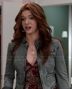Karma's red paisley dress and grey jacket on Faking It.  Outfit Details: http://wornontv.net/37036/ #FakingIt