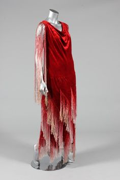 A scarlet velvet flapper dress, early 1920s
