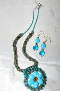 Beaded Aqua and Brown necklace set