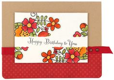 Blossoms Happy Birthday Card - Click through link for supply list and project instructions.
