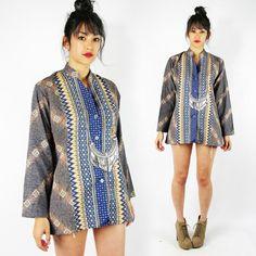 vtg 70s 80s boho ETHNIC TRIBAL print CAFTAN dashiki TUNIC shirt blouse top S/M/L $38.00