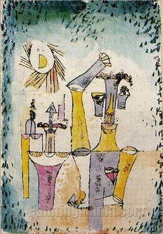 Black Magic; Schwarzmagier. Paul Klee Watercolour over oil transfer on chalk-primed paper. Executed in 1920. 36.9 x 25.4cm Private collection.
