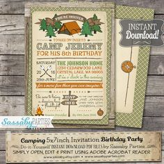Camping Party Invitation - INSTANT DOWNLOAD -  Editable & Printable Camp Birthday Party Invitation by Sassaby Parties