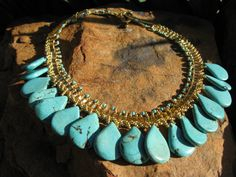 Turquoise Statement Necklace   Gold or Silver  by fleurdesignz