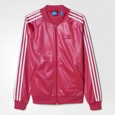 2974cf0c1cf3 adidas Originals Women s WET Look SUPERGIRL Track Top Jacket UK14- US MED  PINK