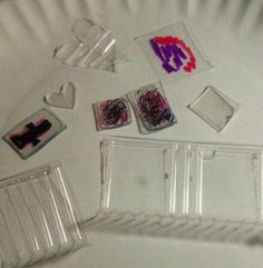 shrinky dinks from plastic in cookie package (plastics w/ recycle 6 symbol)  Ala DIY Shrinky Dinks