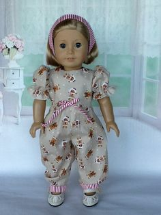 2dab9a0124cdd9 18 inch doll Christmas rompers and headband. Fits American Girl Dolls.  Gingerbread men with peppermint stripe contrast. Sewing Doll ClothesSewing  ...