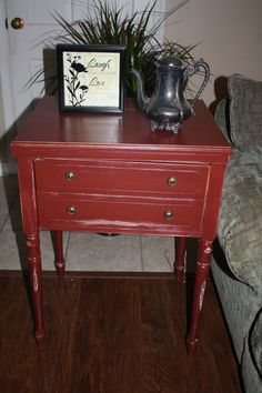 Repurposed Sewing Machine Table Red Side Table, Accent Table, Shabby Chic