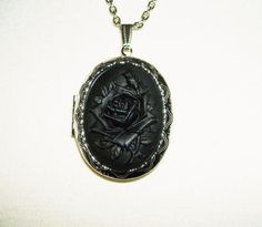 BLACK ROSE Cameo Necklace Locket Pendant Victorian MOURNING Goth Design WICC