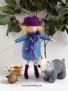 Waldorf inspired needle felted fairy/girl with a bobtail dog :-)