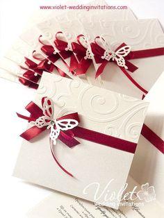 """Finesse"" Wedding Invitation, Violet Handmade Wedding Invitations:"