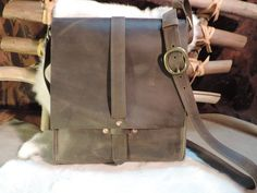 Hand made Leather Unisex laptop Tablet bag  Old by RoundOakLeather