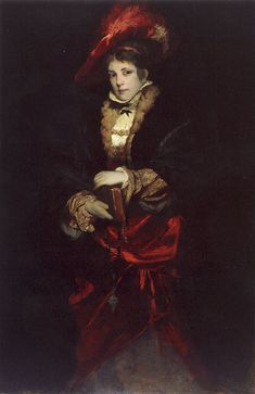 Portrait of a Lady with a Red Plumed Hat by Hans Makart (1840- 1884)