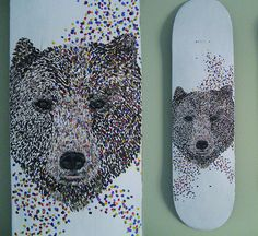 This is a cool design because the bear face appears to be pixelated. Also I like the use of many different colors and how the appear to be breaking off of the face in the wind. Skateboard designs