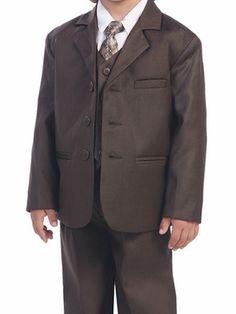 Brown Boys Suit - 5 Piece Suit