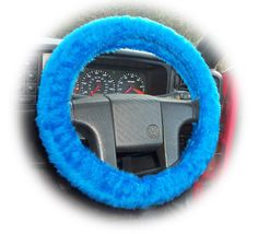 Royal Blue steering wheel cover faux fur wrap fluffy furry fuzzy car truck suv boy man dad present cobalt fathers day truck van suv jeep 4x4