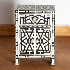 Bone Inlay Side Cabinet - Iberia - Black #furnituredesign tables, cabinets, chairs, bookcases, coffee tables, seating, sofas, recliner, chaise, beds, headboard, desks, dining, living, bedroom, study, #interiordesign modern furniture, vintage furniture design, contemporary furniture, art deco, revival, post-modern, baroque, gustavian, indian, tribal, ethnic, minimalist.