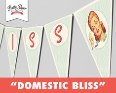 Domestic Bliss - 50s Housewife Bridal Shower Banner // INSTANT DOWNLOAD // 1950s Retro Bunting Decor // Printable DIY by ThePrettyPaperStudio, $9.00