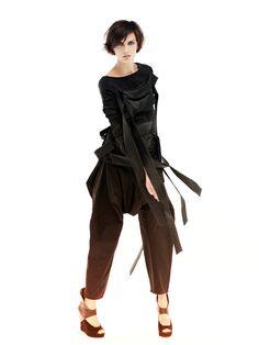 Black Coat Loose Coat Sexy Jacket Ribbon Jacket by MariaQueenMaria