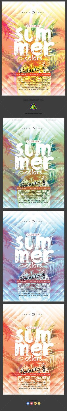 Summer Colors Party Flyer Template PSD