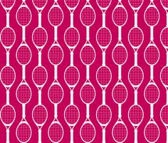 Magenta Rackets fabric AND wallpaper by audreyclayton on Spoonflower